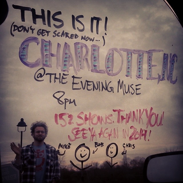 Tonight's show ends a year of travel, good times & great friends. Thanks! @theeveningmuse, 8pm